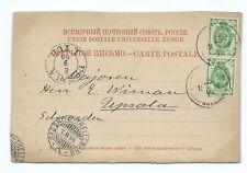 LATVIA: Postcard to Sweden via Germany from Riga 1899. Arr.canc.