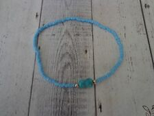 Turquoise Anklet, Stretch Style A1340 Silpada Glass Bead, Sterling and