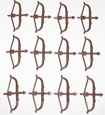 LEGO LOT OF 12 NEW STYLE REDDISH BROWN BOW AND ARROW CASTLE WEAPONS
