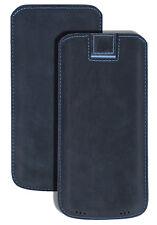 Exclusive Lederhülle Tasche Handytasche Cover Pebble-Blue für Samsung Galaxy S9