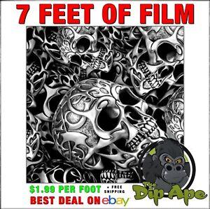 Hydrographic film Skull Tribal Skulls  hydro dipping 7' hydro Dip Ape
