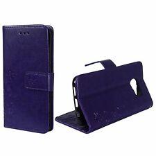 Schutz Hülle Blumen für Handy Samsung Galaxy S7 Violett Wallet Cover Case Etuis