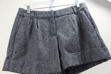 Express Design Studio Wool & Polyester Blend Gray & Black Pleated Lined Shorts 4
