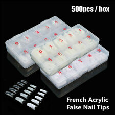 500 PCS/Box DIY French Acrylic False Nail Tips With 10 Different Sizes UK SELLER