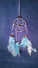 Light-Blue Web Dreamcatcher, Handmade, Hang on the rear view mirror