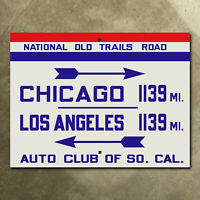 ACSC National Old Trails Road highway sign route 66 Los Angeles Chicago 16 x 12