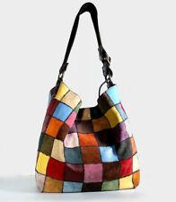 LUCKY BRAND HANDBAG Large Suede Patchwork Hobo Shoulder Bag Multicolor *LOVELY*
