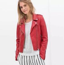 2017 red leather jacket  bomber motorcycle Leather moto biker zipper jacket