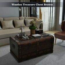Coffee Table w/ Storage Wooden Treasure Chest Large Vintage Trunk Antique Box US