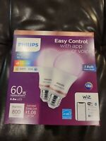 Philips 2-Pack WIZ Smart Light Bulbs FULL COLOR Wi-Fi LED A19 800lm 60W Dimmable