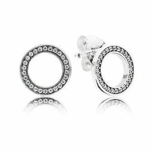Genuine Rose Gold / Sterling Silver Sparkling Forever Stud Earrings - Pandora