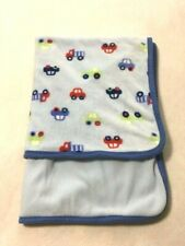 Gerber Light Blue Car Truck Fleece Back Baby Blanket Vehicle Transportation