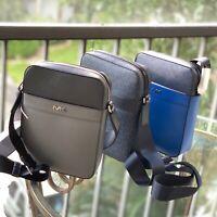 Michael Kors Mens Small Medium Travel Bag Messenger Crossbody Leather Black Blue