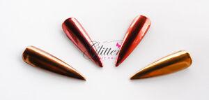 CHESTNUT / CHERRY RED / BLOOD ORANGE RED / AZTEC GOLD - CHROME PIGMENTS NAIL ART