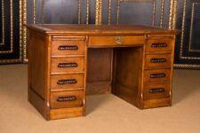 Original Antique Desk Um 1900 in the Colonial Style Massive Oak