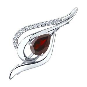 Mirkada Damen Silber Brosche mit Granat und Zirkonia, rot