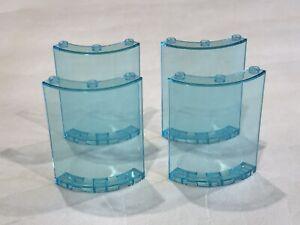 4 x Lego 4x4x6 Curved Wall Panel / Window Frame - Trans Blue P/N 35276