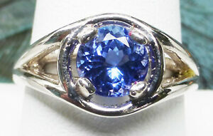 Tanzanite 7mm ROUND PERFECT VIVID BLUE color 1.5ct VVS sz.9 ring Unisex JTV .925