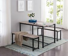 Kings Brand Furniture –3 Piece Dining Set, Table With 2 Benches, Black / Brown