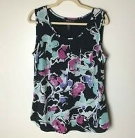 Style & Co. Women's Sleeveless Tank Top Size 12 Floral Casual Dressy Black