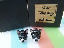 BOXED ' AND MARY ' SCOTLAND BOSTON TERRIER DOG PORCELAIN STUD EARRINGS IN VGC