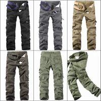 Men's Casual Pants Cotton Camouflage Cargo Combat Work Pockets Long Trousers Lot
