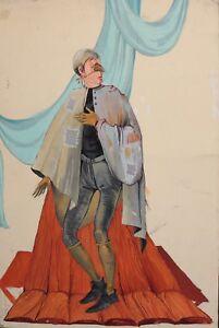 Vintage theatre costume design gouache painting