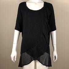 LANE BRYANT Black Top Plus Size 18 20 Sheer Ruffle Short Sleeve