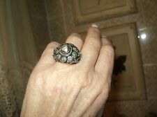 VINTAGE BULLE RING TABLE CUT DIAMOND 0.40ct GOLD 18k 11,6gr*SIZE 7,5/54,5