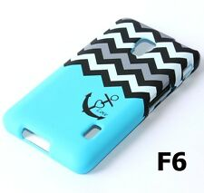 For LG Optimus F6 MS500 D500 HARD SKIN CASE COVER BLUE GREY BLACK CHEVRON ANCHOR