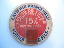milk bottle cap Laiterie Princeville Fortier & Fils vintage Quebec Canada old