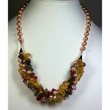 Kumihimo Braided Necklace with Knotted Pearl Straps-Beaded Designer Jewelry!