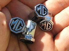MG METAL TYRE VALVE CAPS SET of 4 Badge Black Emblems *NEW UNIQUE* MGA MGB MGF