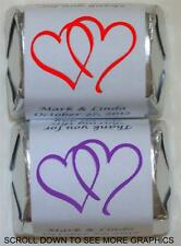 90 PERSONALIZED WEDDING HEARTS HERSHEY NUGGET FAVORS WRAPPERS STICKERS SUPPLIES