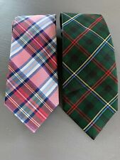 JOS. A. BANK Necktie TIE, Lot of 2, Pink Green Navy White PLAID CHECK, 100% Silk