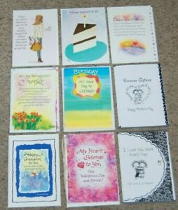 Lot 9 NEW Blue Mountain Arts B-Day Love Graduation Greeting Cards & Envelopes