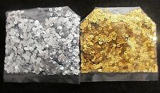 3mm FLAT LOOSE SEQUIN SILVER AND GOLD METALLIC .375 OZ EACH