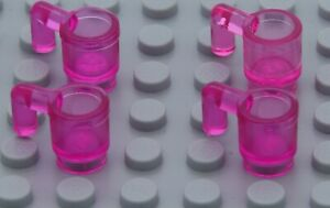 NEW LEGO MINIFIGURE ACCESSORY -  Belville  Friends Trans Pink Minifigure Cups x4