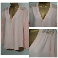New F&F Ladies Lace Shoulder Long Sleeve Baby Pink Smart Top Blouse Shirt  8 -20