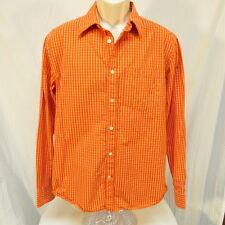 Old Navy Orange and White Plaid Shirt Size M