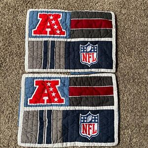 Pottery Barn Teen NFL AFC Patchwork Quilted Pillow Shams Pair 2 Standard