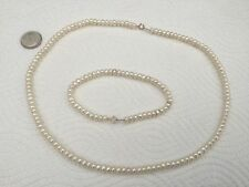 Vintage 10K 5.2MM Cream Freshwater Pearls Necklace And Bracelet Set!