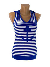 Russian,Navy,Marine,Telnyashka,Sailor Tshirt Vest Top with Hooded & Anchor women