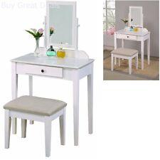 Makeup Dressing Table Set White Vanity Jewelry W/Stool 4 Drawer Mirror Wood Desk