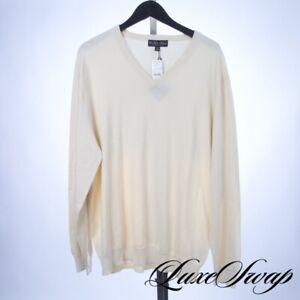 NWT Brooks Brothers Supima Cotton Cream Vanilla V-Neck Knit Sweater XXL NR FALL