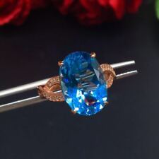 Certified Switzerland Blue Topaz Oval 925 Sterling Silver Adjusted Ring Gifts