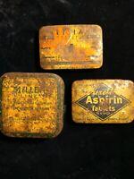 Vintage Metal Tins, 3 metal tins ,Aspirin Tin, Miller Line Tin, Parasiens??? Tin