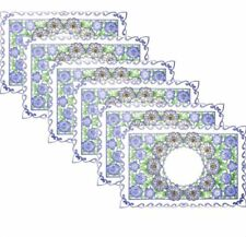 Set of 6 Woven Dining Canvas Placemats (Blue Multicolor)
