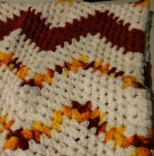 Handmade Crochet Afghan Throw Blanket Chevron 46 x 60 Inches Fall Colors Zig Zag