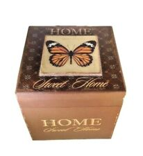 Butterfly Wood Box Home Sweet Home Storage Trinket Sewing Supplies Decorative